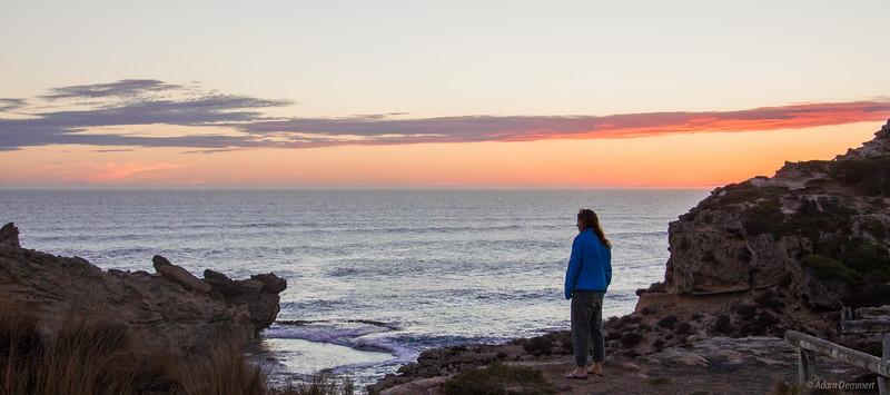 Jessie enjoying the sunset, Port MacDonnell