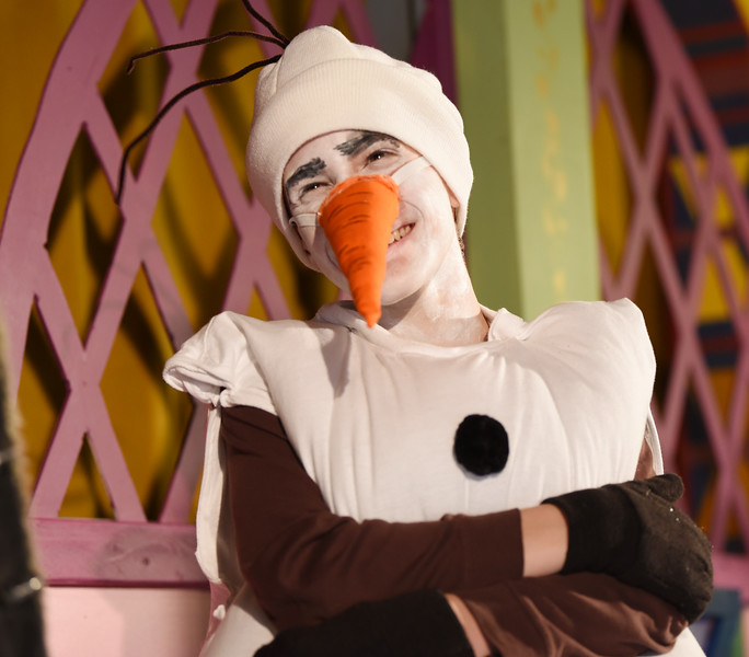 """Harold Aughton/Butler Eagle: Olaf, played by Than Archer reacts to Kristoff in a recent rehearsal for Sing Hosanna production of Disney's """"Frozen Jr."""""""