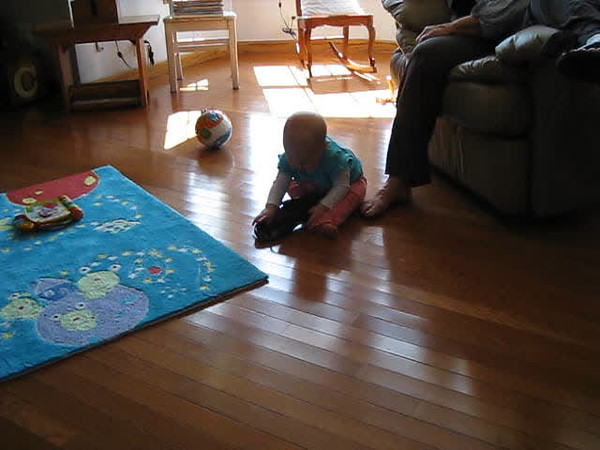 Trying on Grandma's shoes.AVI