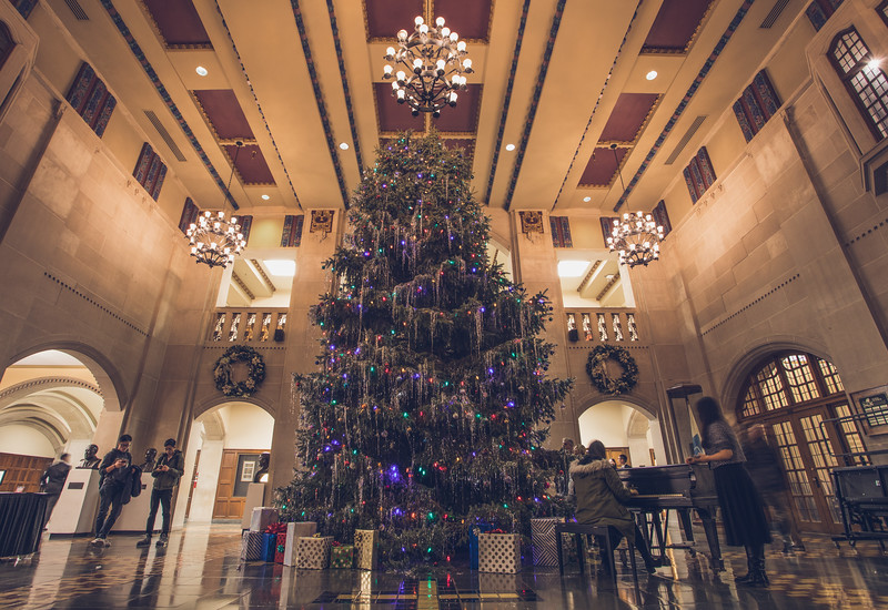 The Purdue Christmas tree at the Purdue Memorial Union on December 5, 2017