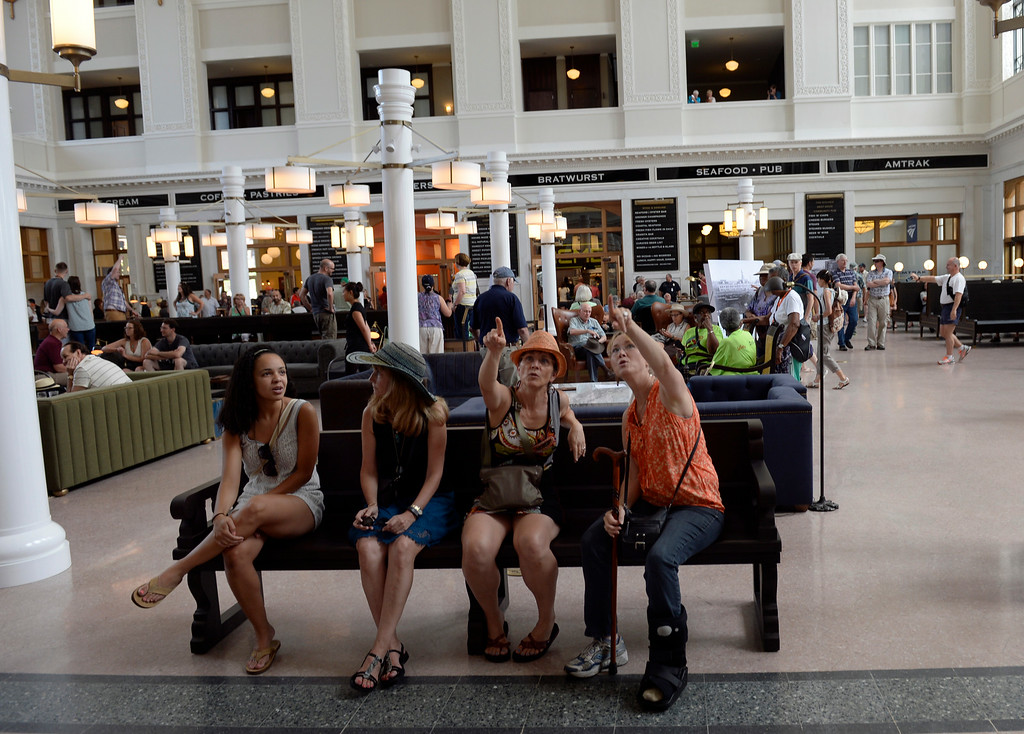. Denver Union Station hosts a public event for their grand opening celebration featuring food trucks and live music on Wynkoop Street and free tours of the building. (Photo by Kathryn Scott Osler/The Denver Post)