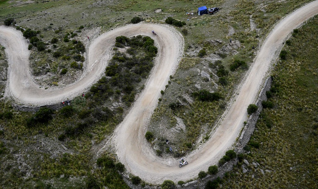 . A biker competes during the stage 2 of the Dakar 2015 between Carloz Paz and San Juan, Argentina, on January 5, 2015. FRANCK FIFE/AFP/Getty Images