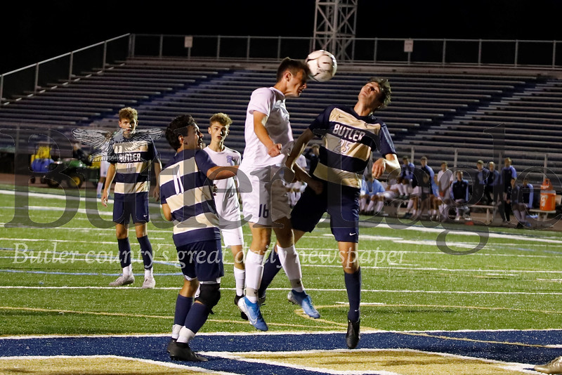 Seneca's Zachary LaValle attempts a header off a corner kick during the team's 2-1 come-from-behind win at Butler. Seb Foltz/Butler Eagle
