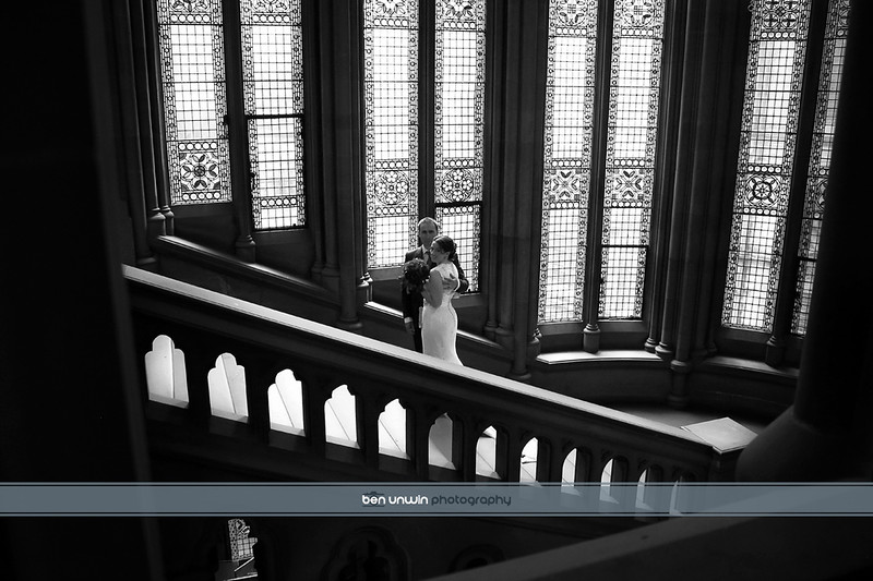 Manchester town hall stairway bride and groom wedding photography