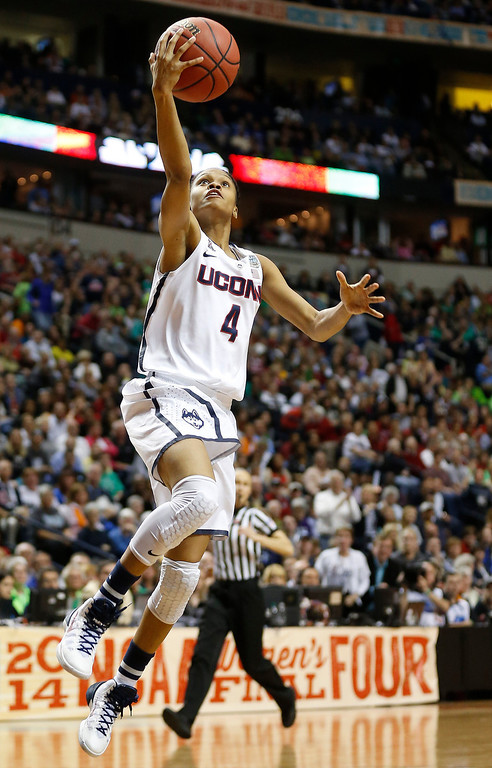. Connecticut guard Moriah Jefferson (4) heads to the hoop against Notre Dame during the second half of the championship game in the Final Four of the NCAA women\'s college basketball tournament, Tuesday, April 8, 2014, in Nashville, Tenn. (AP Photo/John Bazemore)
