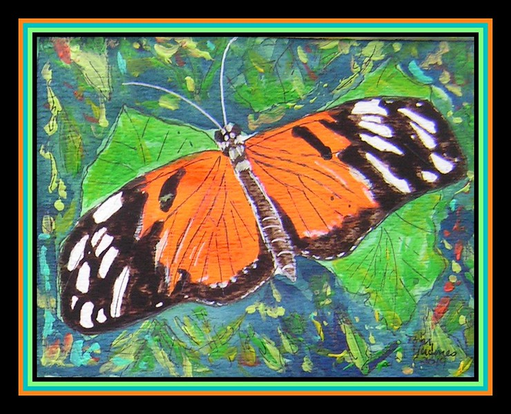 Tiger Heliconian or Tiger-striped Longwing, Heliconius ismenius. Central America - N SA. - 4.5x6, watercolor, acrylic & ink, jan 9, 2019.PICT0014