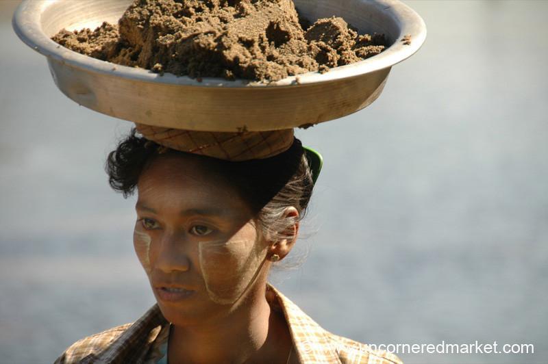Woman Balancing Mud - Toungoo, Burma