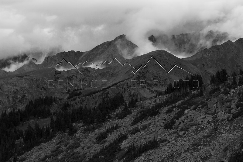 Low hanging clouds in the Gore Range, CO.