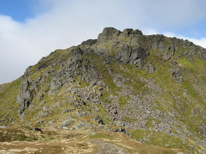 Looking back at the Ben Narnain crags.