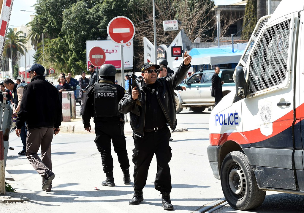 . Tunisian security forces secure the area after gunmen attacked Tunis\' famed Bardo Museum on March 18, 2015. At least seven foreigners and a Tunisian were killed in an attack by two men armed with assault rifles on the museum, the interior ministry said. AFP PHOTO / FETHI BELAID/AFP/Getty Images