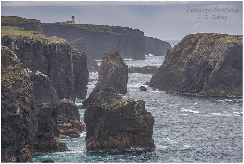 Cliffs and lighthouse at Esha Ness (north Shetland mainland)