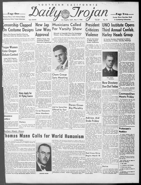 Daily Trojan, Vol. 37, No. 79, March 07, 1946