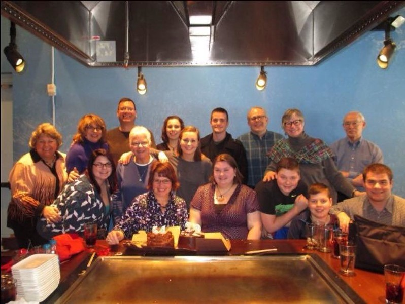 Nicole and I celebrating our birthdays at Benihana in Columbus, OH with family - February 18, 2015