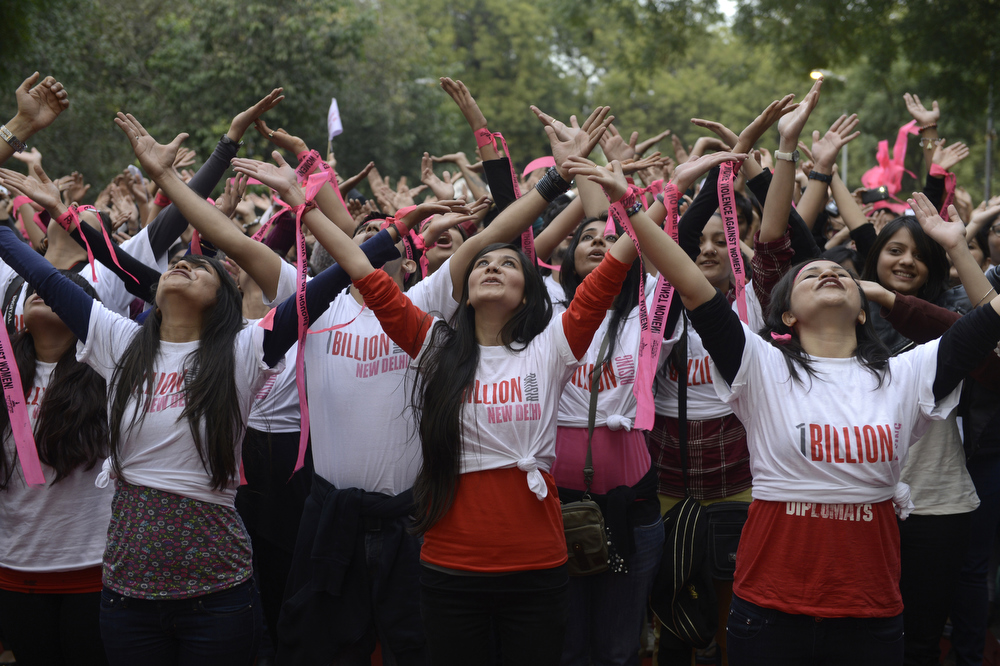 . Indian students dance as they take part in a One Billion Rising rally in New Delhi on February 14, 2013.  Indians were at the forefront of global protests on Thursday in the One Billion Rising campaign for women\'s rights, galvanised by the recent fatal gangrape that shocked the country.  SAJJAD HUSSAIN/AFP/Getty Images