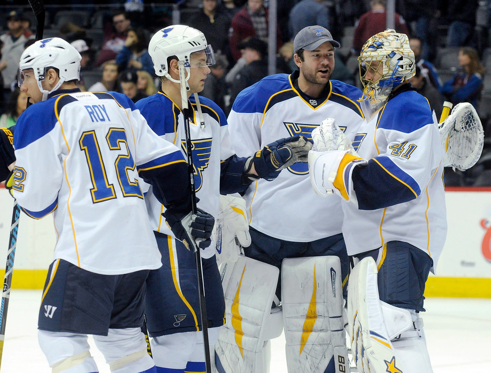 . Teammates congratulated Blues\' goalie Jaroslav Halak after the win. The St. Louis Blues beat the Colorado Avalanche 4-1 at the Pepsi Center Wednesday night, November 27, 2013.  Photo By Karl Gehring/The Denver Post