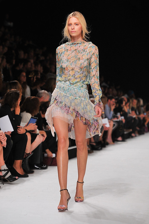 . PARIS, FRANCE - SEPTEMBER 26:  A model walks the runway during Nina Ricci show as part of the Paris Fashion Week Womenswear  Spring/Summer 2014 on September 26, 2013 in Paris, France.  (Photo by Dominique Charriau/Getty Images)