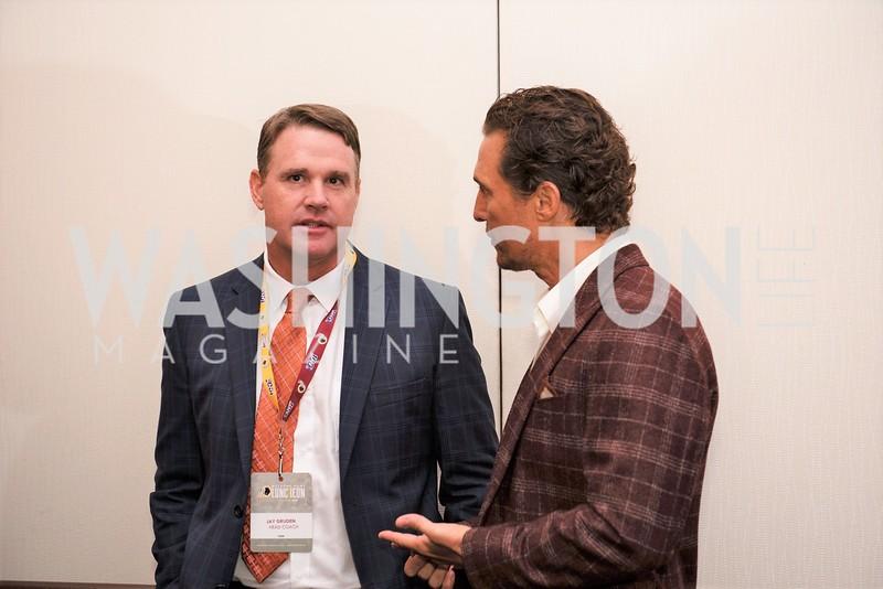 Jay Gruden, Matthew McConaughey. Photo by Yasmin Holman. Washington Redskins Lunch 2019. Washington Hilton. 08.28.19
