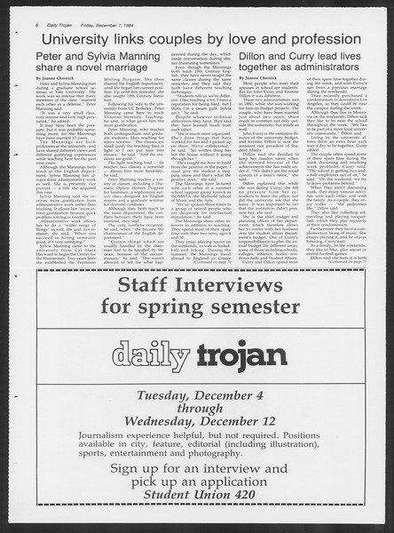Daily Trojan, Vol. 97, No. 65, December 07, 1984