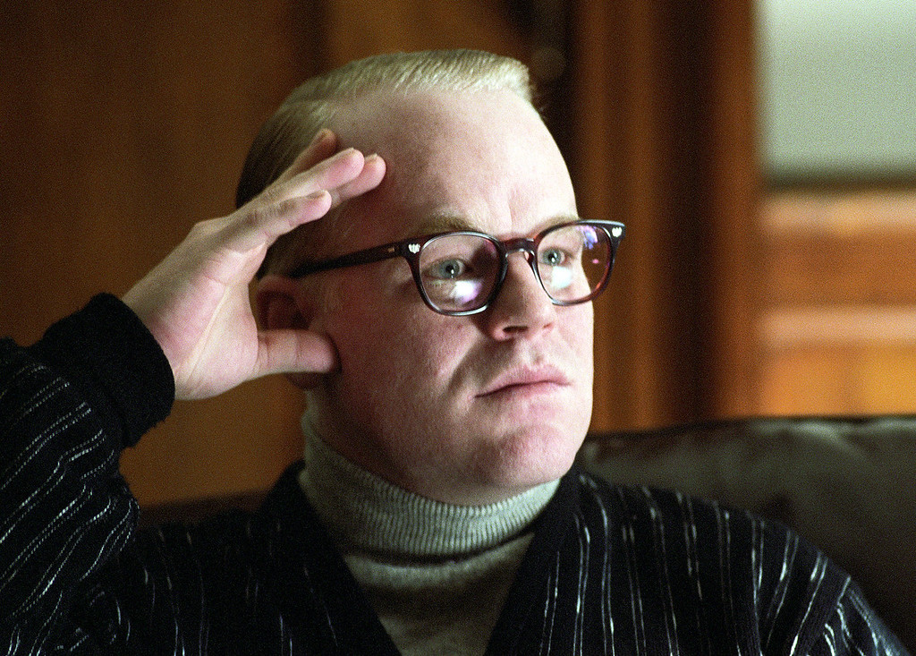 """. In this undated publicity photo released by Sony Pictures Classics, Philip Seymour Hoffman portrays author Truman Capote in a scene from the film \""""Capote.\""""   Police say Oscar-winning actor Philip Seymour Hoffman has been found dead in his NYC apartment. (AP Photo/Attila Doroy, Sony Pictures Classics, File)"""