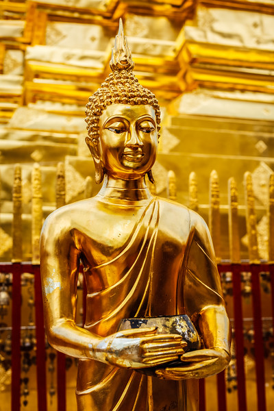 Buddha statue in Wat Phra That Doi Suthep, Chiang Mai, Thailand, Asia, Buddha, Buddhism, Buddhist, Buddhist temple, Chiang Mai, Thailand, Wat Phra That Doi Suthep, asian, decorated, decoration, gilded, god, gold, golden, lord, religion, religious building, sculpture, statuary, statue, temple, thai