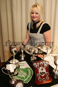Victoria Kerr pictured with her haul of awards at the Rathfriland High School, prize night.  48-2906.