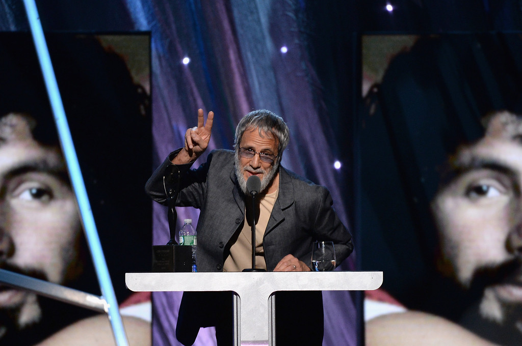 . Inductee Cat Stevens speaks onstage at the 29th Annual Rock And Roll Hall Of Fame Induction Ceremony at Barclays Center of Brooklyn on April 10, 2014 in New York City.  (Photo by Larry Busacca/Getty Images)