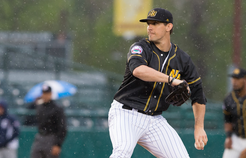05/03/19  Wesley Bunnell   Staff  The New Britain Bees home opener vs the Somerset Patriots on Friday night at New Britain Stadium.  Starting pitcher Christian Friedrich (23).