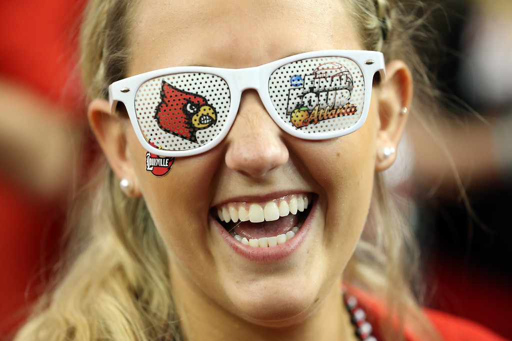 . ATLANTA, GA - APRIL 06:  Allie Funk, a Louisville Cardinals fan, poses before the Cardinals take on the Wichita State Shockers in the 2013 NCAA Men\'s Final Four Semifinal at the Georgia Dome on April 6, 2013 in Atlanta, Georgia.  (Photo by Andy Lyons/Getty Images)