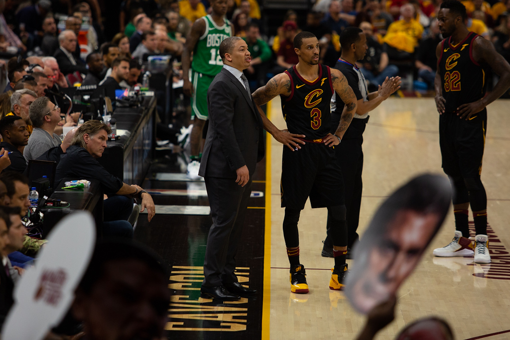 . Michael Johnson - The News-Herald Coach Tyronn Lue talks with George Hill during game 3 of the Eastern Conference finals on May 19, 2018.