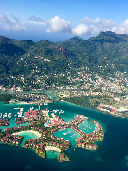Flying over Mahe in the Seychelles