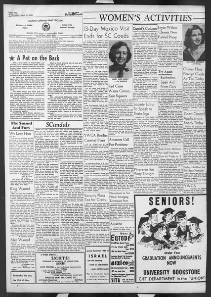 Daily Trojan, Vol. 42, No. 116, April 25, 1951