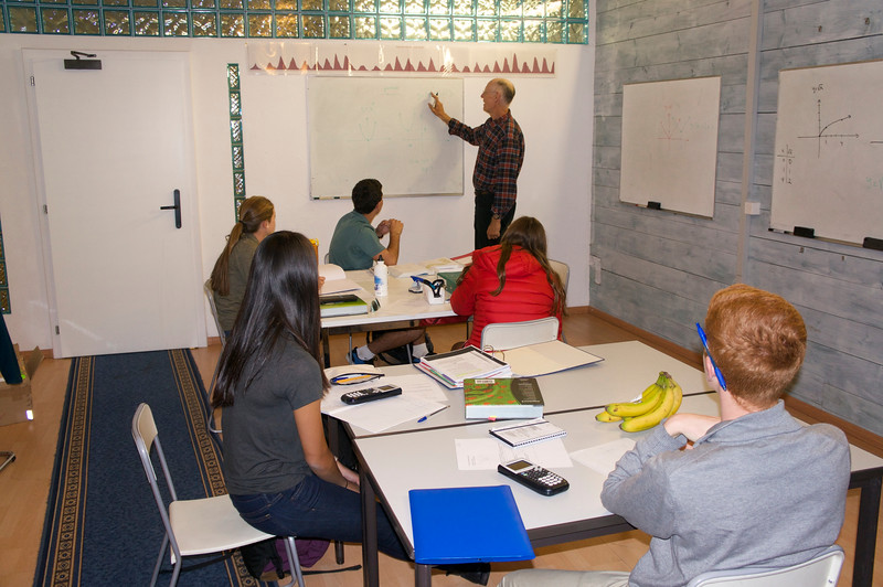 Math Class—Mr. Hansen working with Lucy, Kate, Andrew, Catherine, and Charlie