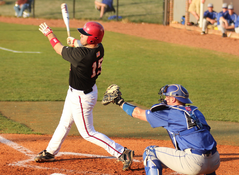 #15 Dusty Quattlebaum bats in Gardner-Webb's first of three match on March 18th, 2011.