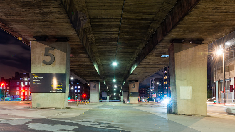 Bow Flyover at night