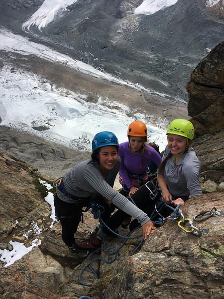 Mia, Cara, and Ashley climbing on Riffelhorn above the Gornerglacier