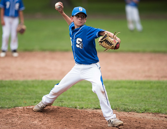 07/30/18 Wesley Bunnell | Staff The Southington Travel Knights 12U baseball was defeated 10-0 by the Catalyst Bombers at A.W. Stanley Park on Monday evening in Nutmeg Games action. Jack Kushmun (65) comes in from the short stop position to pitch.