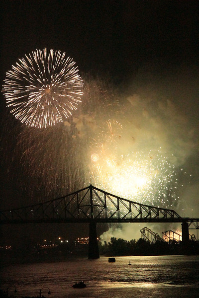 Fireworks over the Jacques Cartier bridge in Montreal