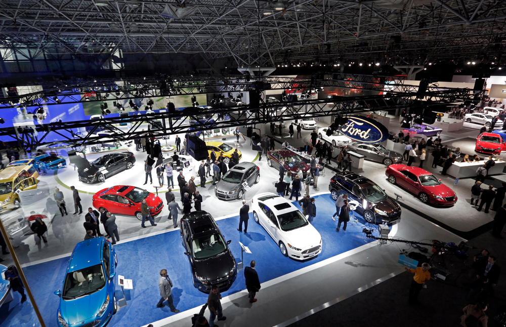 . Ford cars are among those on display at the New York International Auto Show, in New York\'s Javits Center,  Wednesday, March 27, 2013. (AP Photo/Richard Drew)