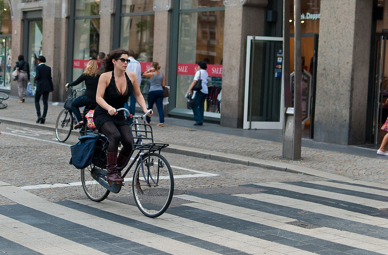 Girl on bike in Amsterdam