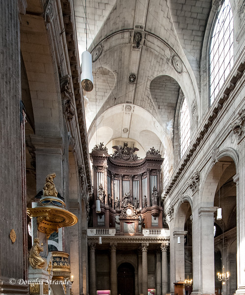 Interior of St Sulpice includes the famous pipe organ