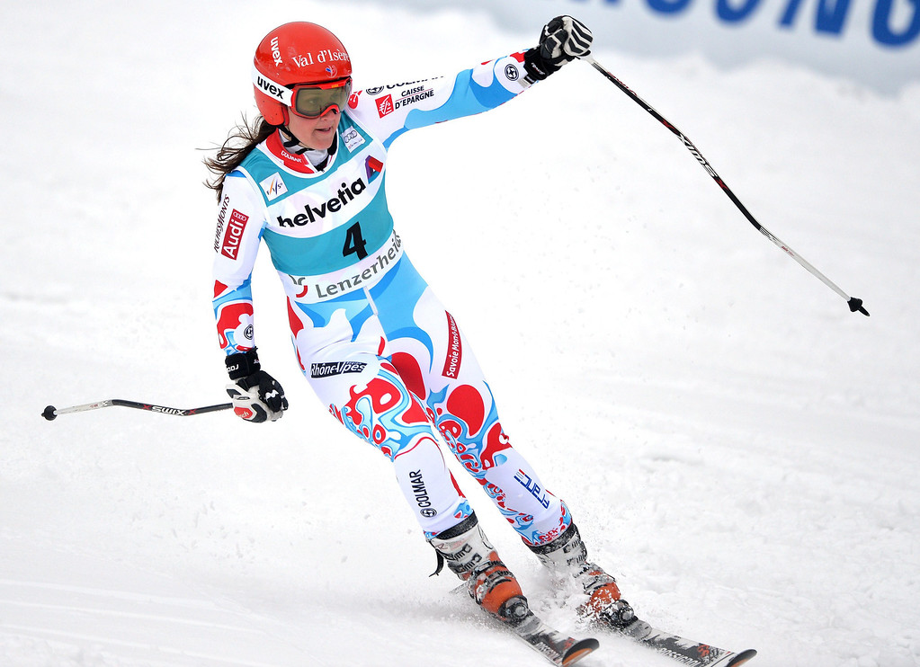 . Anemone Marmottan of France reacts in the finish area during the women\'s giant slalom race at the FIS Alpine Skiing World Cup finals in Parpan-Lenzerheide, Switzerland, 16 March 2014.  EPA/BARBARA GINDL