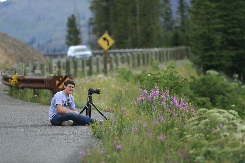 Jared enjoys the view below Dunraven Pass in Yellowstone National Park