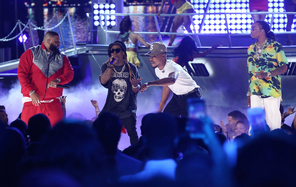 ". DJ Khaled, from left, Lil Wayne, Chance The Rapper, and Quavo perform ""I\'m the One\"" at the BET Awards at the Microsoft Theater on Sunday, June 25, 2017, in Los Angeles. (Photo by Matt Sayles/Invision/AP)"