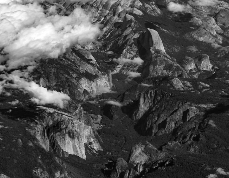 Black and white image of Yosemite Valley as seen from a passing airliner at 38,000'