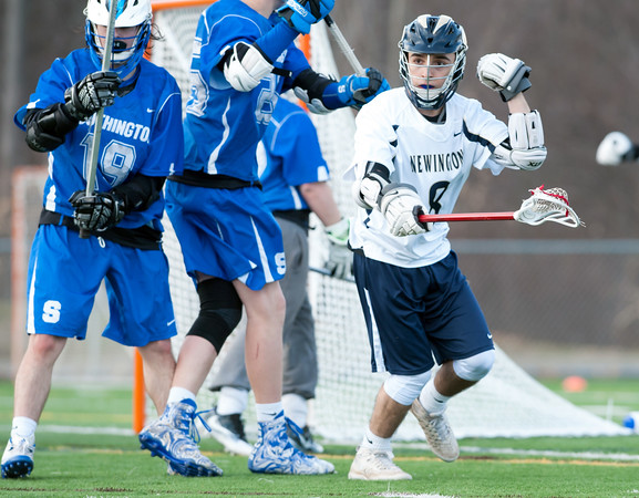 04/10/18 Wesley Bunnell | Staff Southington boys lacrosse defeated Newington 8-5 at Newington on Tuesday afternoon. Dan Pastrichello (8)