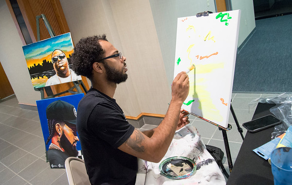 08/13/19 Wesley Bunnell | Staff Patio Tuesdays , as featured by Gallery 66, held a live art demonstration by Jordan James in the lobby of 1 Liberty Square on Tuesday August 13, 2019.