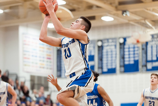 12/18/18 Wesley Bunnell   Staff Southington basketball vs Glastonbury at Southington High School on Tuesday night. Jared Kelly (10) with the jumper.