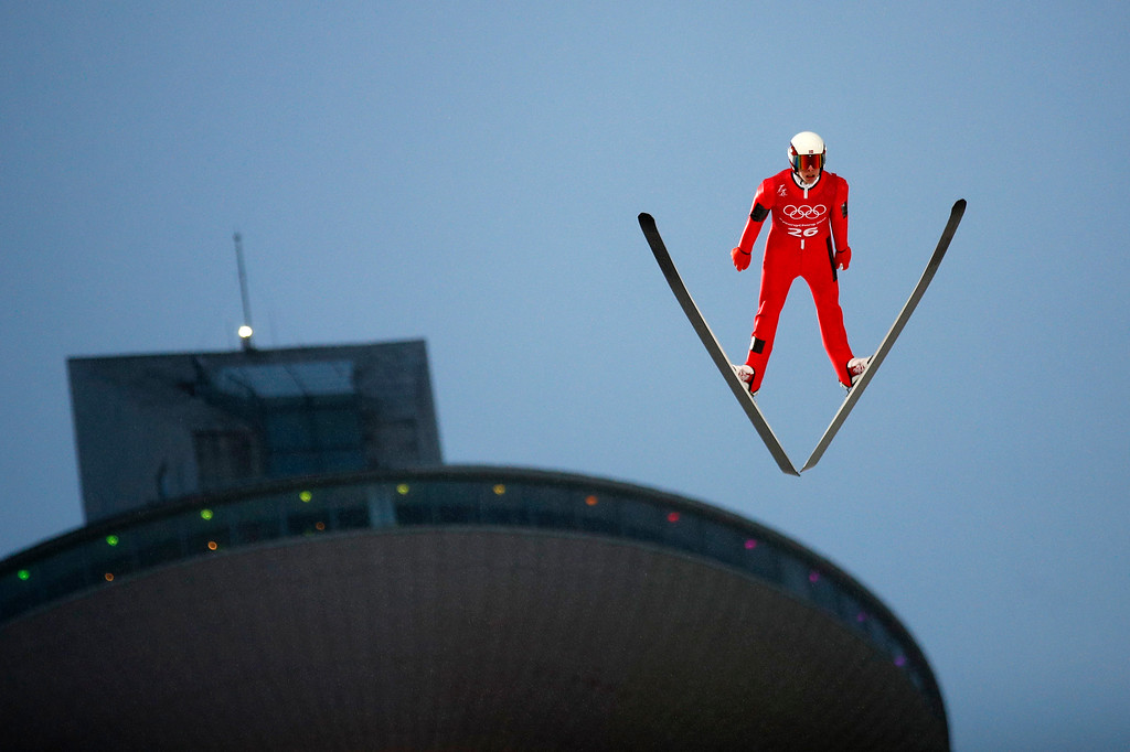 . Magnus Krog of Norway jumps during a training session for the men\'s nordic combined competition at the Alpensia Ski Jumping Center during the 2018 Winter Olympics in Pyeongchang, South Korea, Sunday, Feb. 11, 2018. (AP Photo/Patrick Semansky)