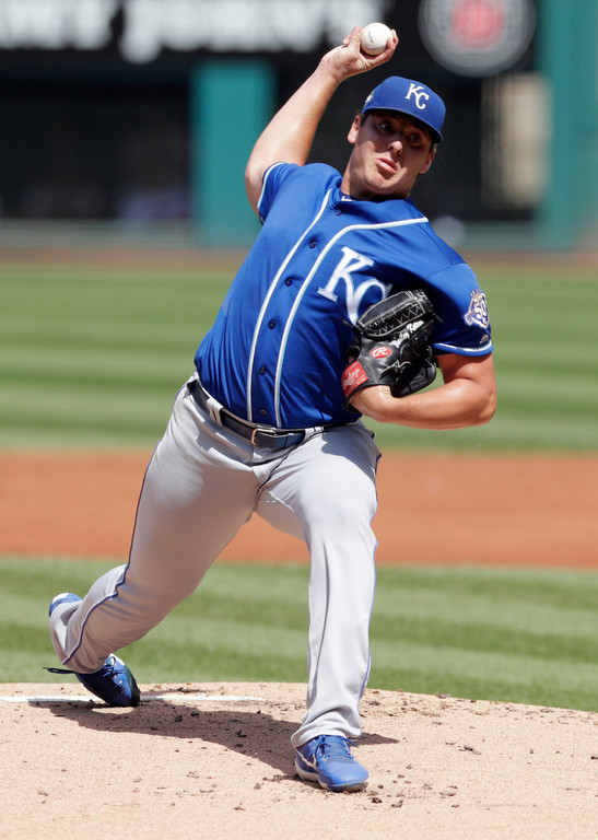 . Kansas City Royals starting pitcher Brad Keller delivers in the first inning of a baseball game against the Cleveland Indians, Wednesday, Sept. 5, 2018, in Cleveland. (AP Photo/Tony Dejak)