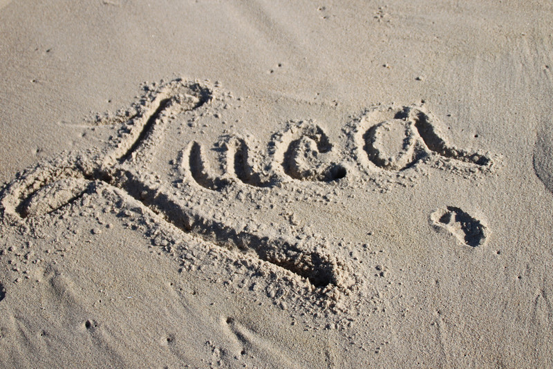 Luca's signature with his footprint.